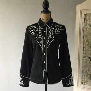 Scully Floral Stitch Western Shirt Sz M